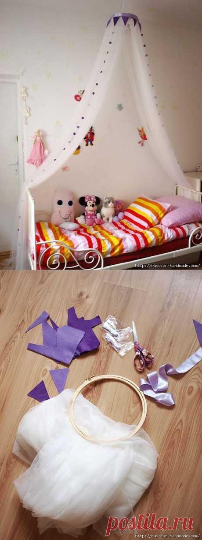 Как сделать балдахин для детской кроватки своими руками.