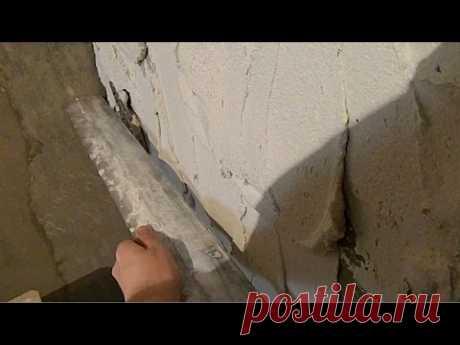 Штукатурка кривых стен под маяк