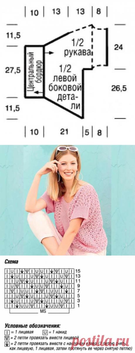 Короткий пуловер, связанный поперек - Вязаные модели спицами для женщин