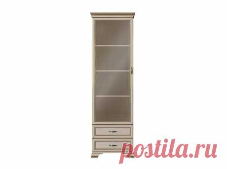 Шкаф-витрина Сиена-3 Бодега белый, патина золото Без стеклополок купить в Москве в интернет-магазине «Первый Мебельный»