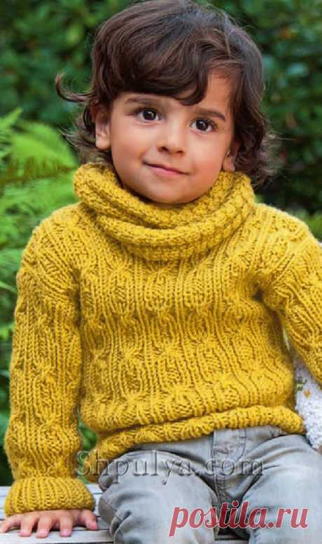 Детский пуловер с косами и воротник-хомут.