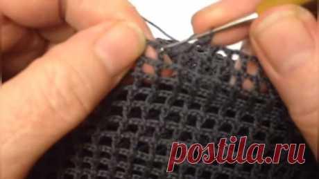 Столбик с накидом в филейном вязании.