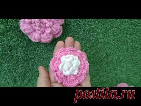 How to connect a flower by a hook \/ Knitted flowers \/ How to Crochet a Flower