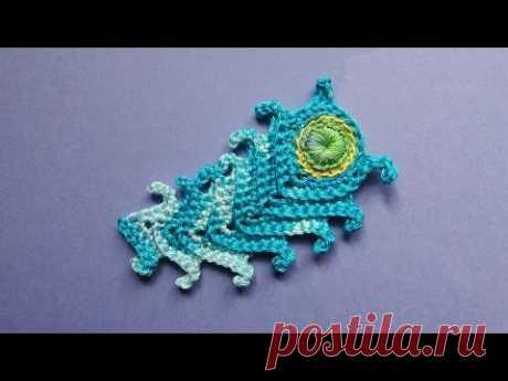 Crochet peacock feather   Павлинье перо крючком вязание
