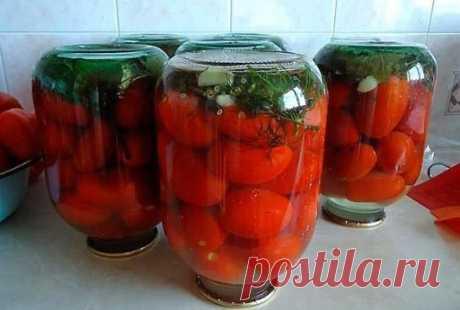 Tomatoes with pleasure - sharp marinated. \u000d\u000aIngredients: \u000d\u000aTomatoes, leaf of horse-radish, garlic, fennel, currant leaves, hot red pepper. \u000d\u000aFor marinade: \u000d\u000aOn 1 l of water: 1 tbsps of salt, 5 tbsps of sugar, 2,5 tbsps of vinegar of 9%.
