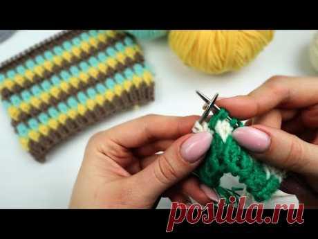 Многоцветное вязание спицами. Как сделать красивый переход на новый цвет
