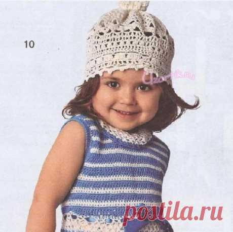 Летняя ажурная шапочка для девочки - Описание вязания, схемы вязания крючком и спицами | Узорчик.ру