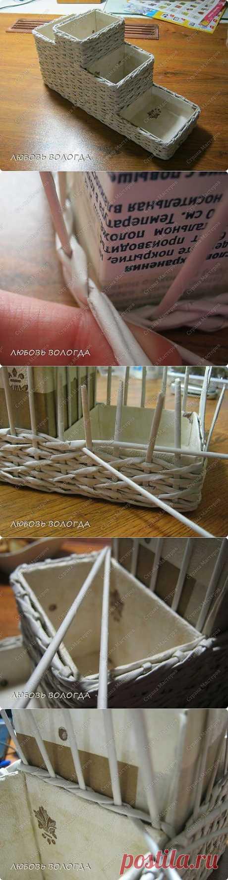 Узор крест накрест, плетение - Плетение из газетных трубочек - Поделки из бумаги - Каталог статей - Рукодел.TV