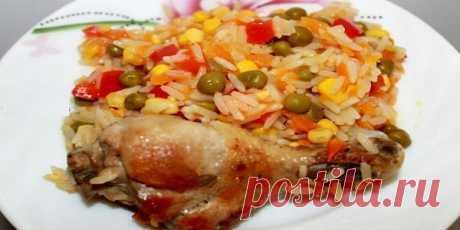 Курица с рисом и овощами по-каталонски.  Обожаю готовить курицу с рисом по этому рецепту. Аромат во время приготовления стоит просто неописуемый… А вкус… Ммм… Пальчики оближешь