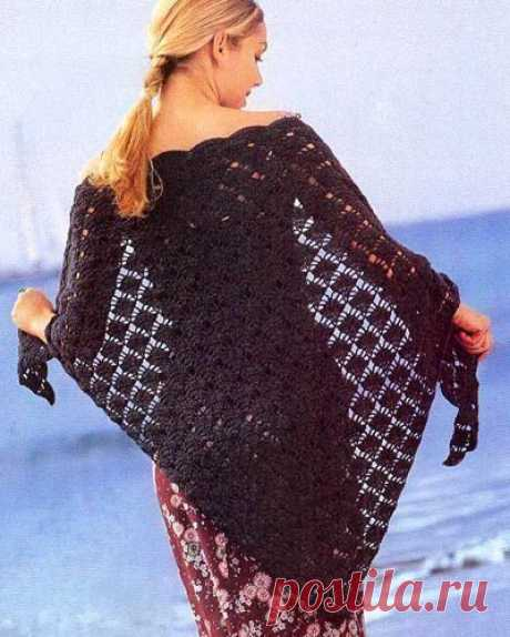 Красивая шаль, вяжется просто! из категории Интересные идеи – Вязаные идеи, идеи для вязания
