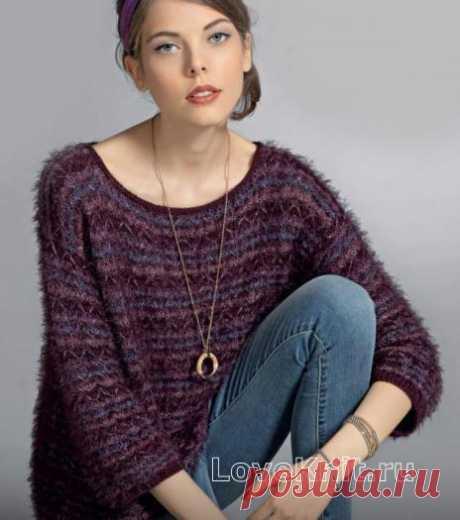 Пушистый пуловер с укороченными рукавами схема спицами