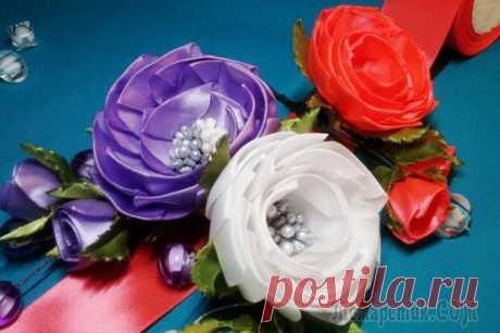 Цветы из лент: открытая роза из атласных лент