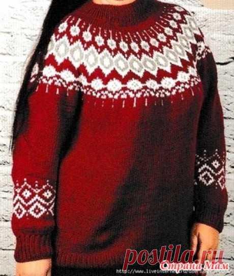 . Пуловер с круглой кокеткой -- Лопапейса - Вязание - Страна Мам