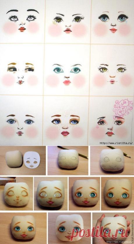 лицо текстильной куклы