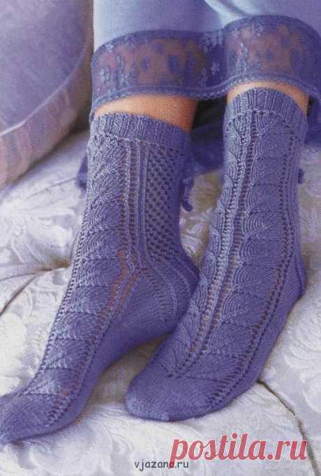 Красивые ажурные носочки спицами | Вязана.ru
