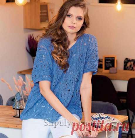 Пуловер оверсайз джинсового цвета с ажурными узорами — Shpulya.com - схемы с описанием для вязания спицами и крючком