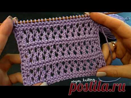 ПРОСТОЙ Ажурный узор спицами | How to Knit Lace stitch pattern