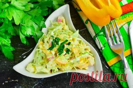 """Салат """"Солнечный зайчик"""" - сочный, вкусный и сытный Салат «Солнечный зайчик» имеет такое красивое название из-за того, что он готовится из капусты и кукурузы, а эти ингредиенты просто обожают зайцы."""