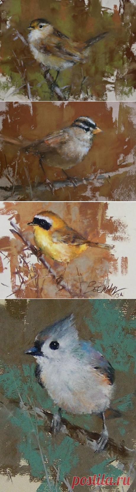Птицы в пастельной живописи художника Майка Бимана