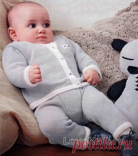 Комплект для младенца из кофточки и штанов с контрастной полосой схема » Люблю Вязать
