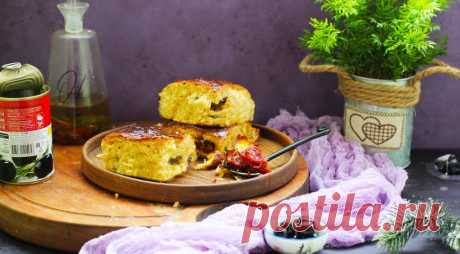 Ароматная бриошь холодной расстойки с добавлением оливок, вяленых томатов и моцареллой
