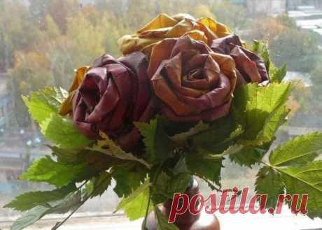 Розы из кленовых листьев. Мастер-класс.