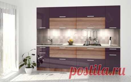 Прямой кухонный гарнитур 3 метра Баклажан и эбен | Мебель Волхова