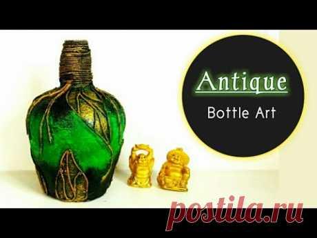 Antique Bottle art| Bottle decorating ideas| Bottle art design| Bottle transformation| Bottle craft - YouTube