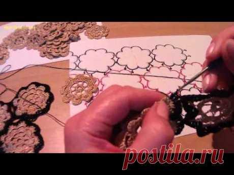Соединение мотивов (вязание крючком). Compound motifs (crochet) — Яндекс.Видео