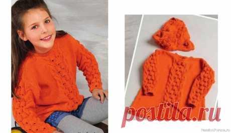 Пуловер и снуд для девочки. Описание и схемы | Вязание спицами для детей Оранжевый пуловер просто изобилует особенными деталями: расклешенный силуэт с укороченным передом сейчас на пике популярности, объемный узор в середине притягивает взгляды, а широкий снуд станет отличным дополнением. Вязание для детей спицами, схема, выкройка и описание вязания.Размеры:...