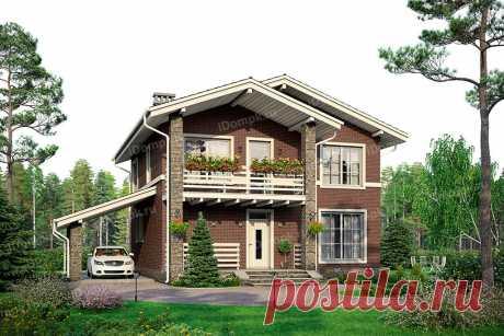 id1253gch – проект небольшого дома с мансардой в стиле шале 9 на 9 с навесом и террасой