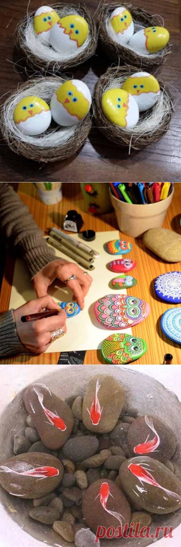 Como hacer los artículos hermosos para la casa de campo por las manos. Tres clases maestras detalladas por la pintura de las piedras