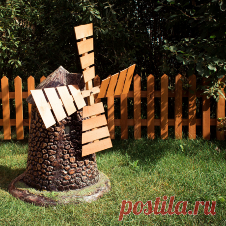 Декоративная ветряная мельница для сада своими руками