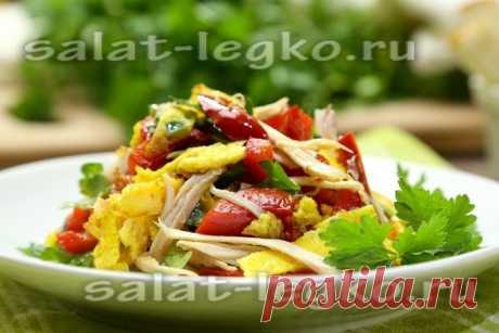 Салат с блинчиками и курицей - рецепт с фото