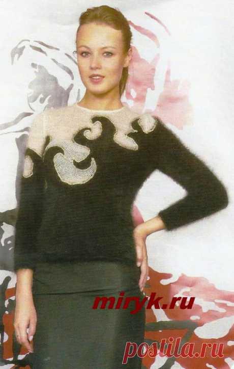 Жаккардовый пуловер «Snejann» спицами