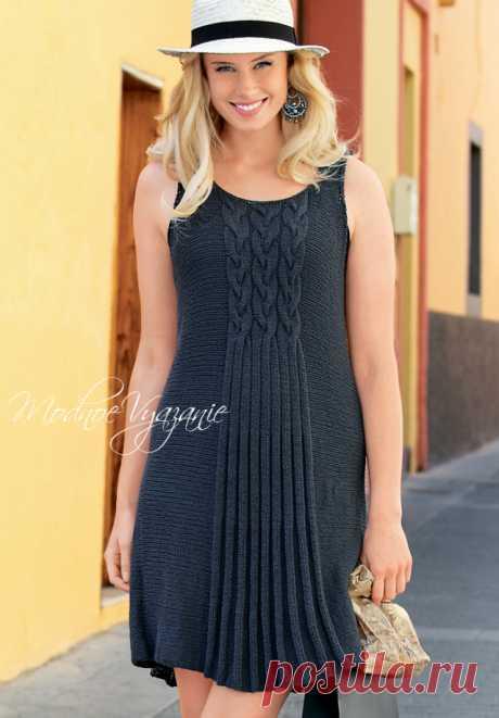 Платье с рельефными косами - Modnoe Vyazanie ru.com