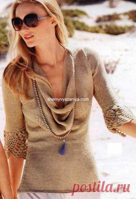 Пуловер с воротником водопад спицами с отделкой крючком.