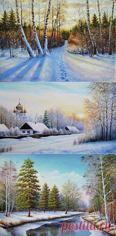 Зимние этюды художника Смолка Сергея Ивановича.