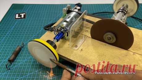 Мини-станок 3в1 с моторчиком на 12-24В Приветствую всех любителей помастерить, предлагаю к рассмотрению инструкцию по изготовлению маленького универсального станка, который будет полезен, если вы занимаетесь моделированием и работаете с мелкими деталями. На станке имеется диск-липучка для установки наждачной бумаги, есть отрезной диск