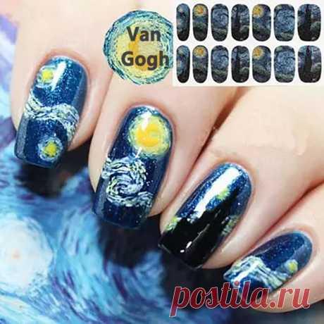 """Наклейки для ногтей: по мотивам картины Ван Гога """"Звездная ночь"""" (AliExpress)"""