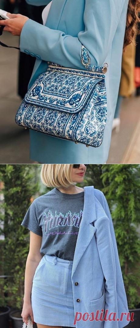 Образы с оттенками нежно-голубого цвета