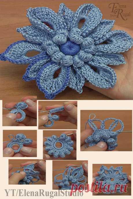 Объёмные лепестки в цветке крючком