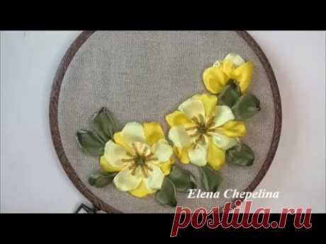 Простые цветы из атласной ленты. Мастер класс по вышивке лентами.