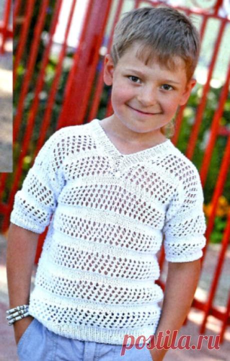 Пуловер для мальчика спицами Пуловер с короткими рукавами для мальчика, вязаный спицами
