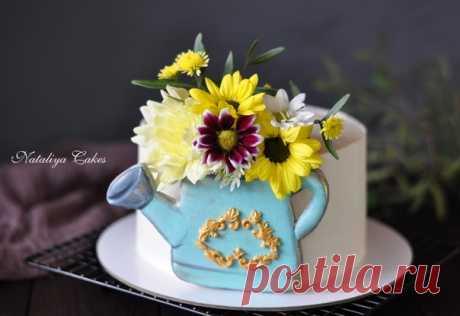 Торт на день рождения для нашей мамы и бабушки, которая любит дачу и цветы. #чтохочутоиделаю_зк