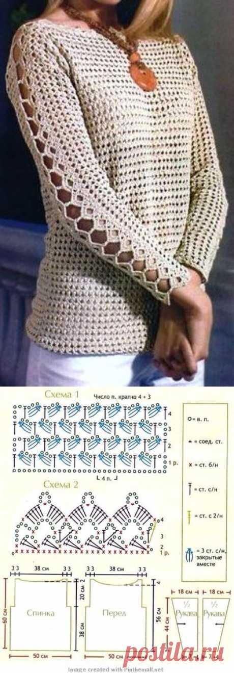 пуловер крючком - Самое интересное в блогах