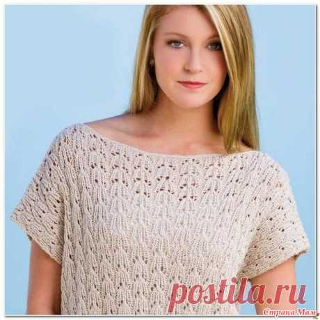 Openwork top with the lowered shoulder - Knitting by spokes - the Country of Mothers