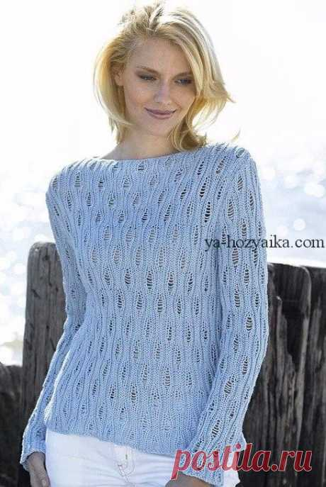 Ажурный пул спицами с описанием. Связать стильный женский пуловер спицами
