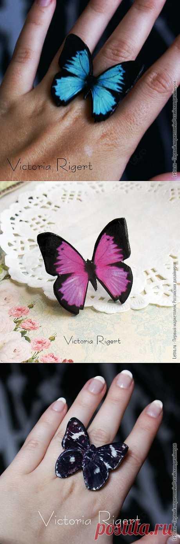 Колечко в виде красивой голубой бабочки для легких веселых и беззаботных как бабочки натур. Уникальная ручная работа. Купить за 300 рублей!