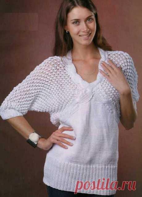 Белый пуловер с ажурным узором | АЖУР - схемы узоров